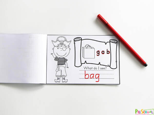 Pirate themed CVC Words Printables to practice phonics kills. Help the Pirate Unscramble the letters to match the picture of a bag.