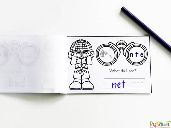 Detective themed CVC Words Printables to practice phonics kills. Help the detectives Unscramble the letters to match the picture of a bag.