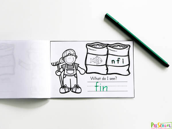 Farmer themed CVC Words Printables to practice phonics skills. Help Unscramble the letters to spell the image on the feed sacks.