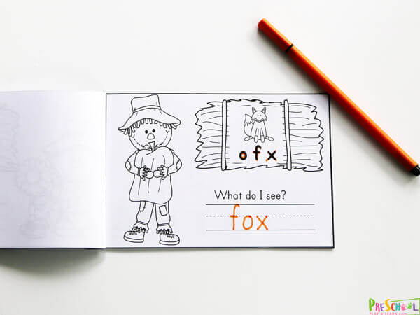 Fall Scarecrow themed CVC Words Printables to practice phonics skills. Help Unscramble the letters to spell the image on the hay stack