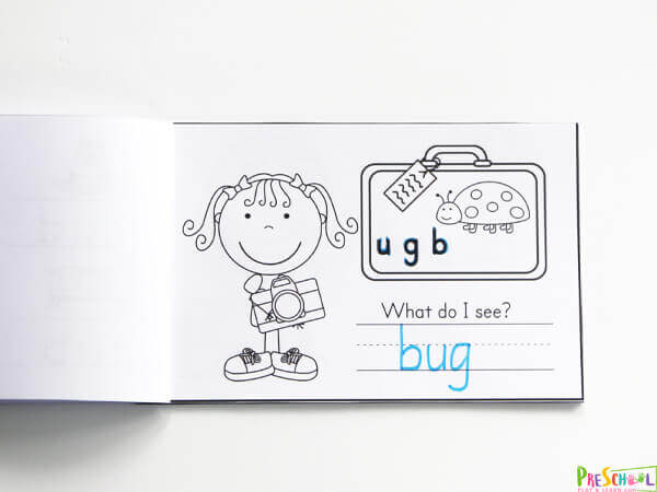 Vacation themed CVC Words Printables to practice phonics skills. Help Unscramble the letters to spell the image in the suitcase.