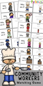 Learn about community helpers for kids with these free community helpers printable; it is a great way for children to learn about the the members of our community and the essential positions that they hold. Simply print pdf file with Community Helpers Matching activity to help teach preschool, pre-k, kindergarten, first grade, and 2nd grade kids students about various community jobs along with ruled piper for working on writing too.