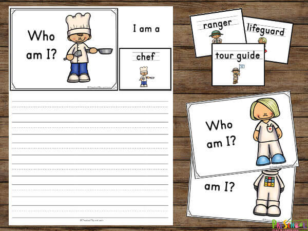Community Helpers Printable with 3 ways to play to learn about jobs such as chef, nurse, astronaut, ranger, tour guide, life guard and more