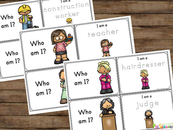 Community Helpers for Kids - Who am I matching cards: construction worker, teacher, hairdresser, judge, doctor
