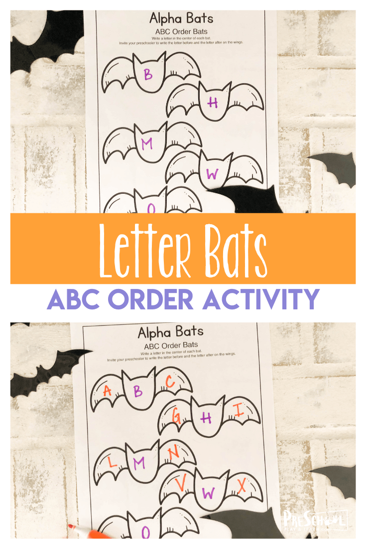 Make learning extra fun by sneaking in a free printable Halloween activity with your preschool, pre-k, and kindergarten age children this October. Alpha Bats is a literacy activity that helps kids work on ABC Order by determiningwhat comes before andwhat comes next. Simply download pdf file and print the free math worksheets to make kids go batty for math practice!