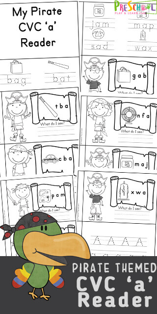 Are you in need of some Free Printable short vowel readers to use with your students or children at home? This super cute, free printable Pirate Themed CVC Words Short a reader is a great way to introduce preschool, pre-k, kindergarten, and first grade students to cvc short a words with a fun cut and paste worksheet style activity.