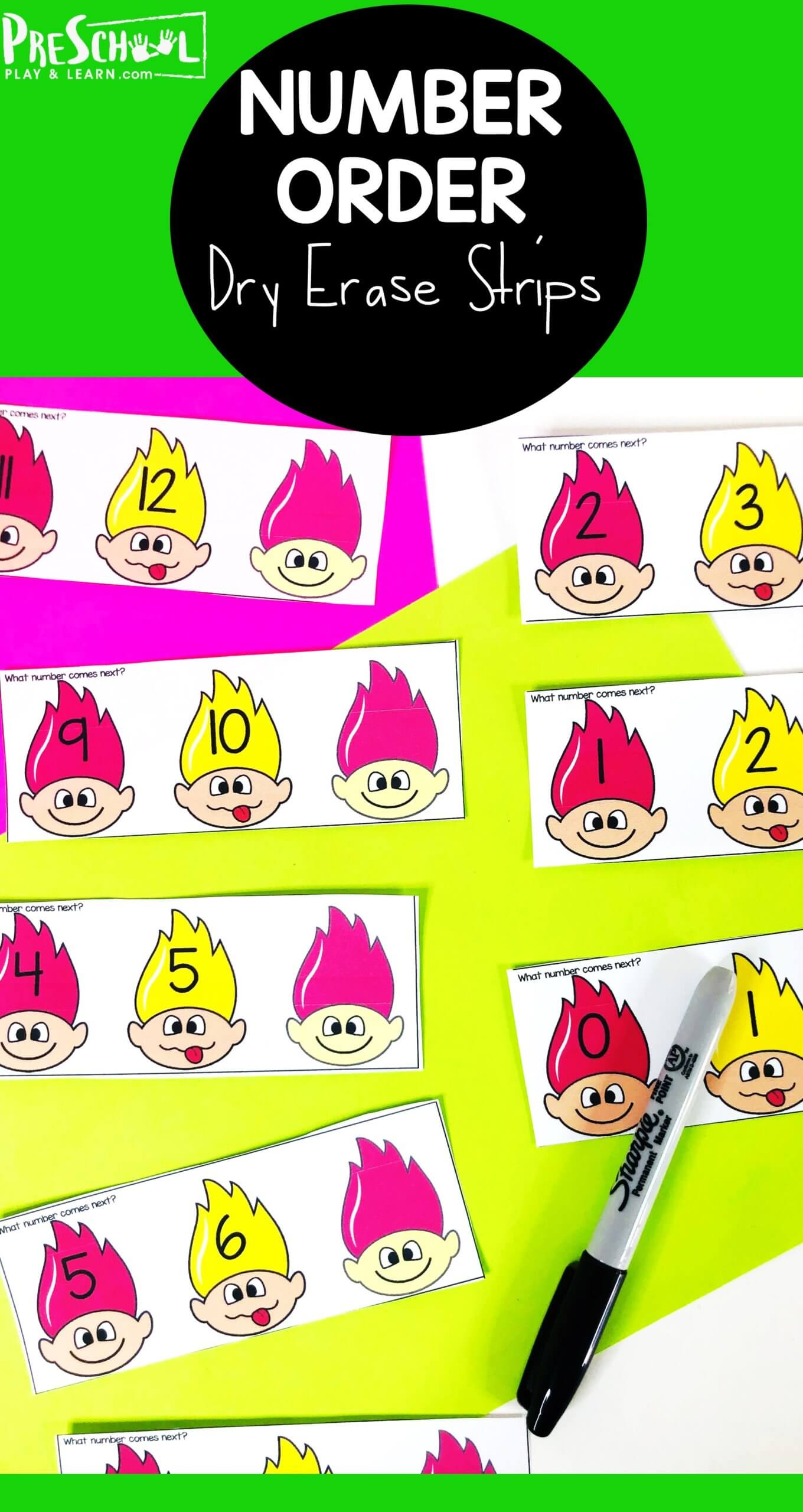 Kindergarten kids will love these troll themed counting and number order activity cards. Simply download pdf file with trolls printable for a fun number sequencing game and you can reinforce number order with preschool, pre-k, kindergarten, and first grade students. These cards are versatile and can be used in a number of ways for kids to review what comes before and what comes next. The kids will enjoy practicing number order and number identification in a  fun and hands-on way using erase markers.
