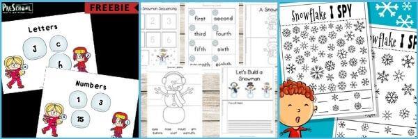 snow preschool printables