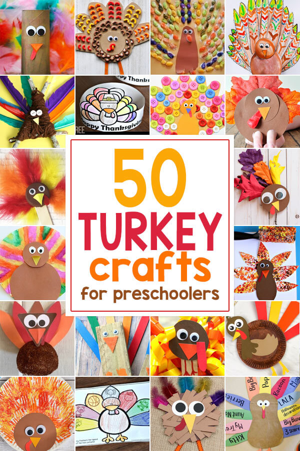 Let's celebrate fall and Thanksgiving with these 50 easy Turkey Crafts for Preschoolers! Preschool, pre k, toddler, and kindergarten age children will love every one of these fun turkey crafts for kids. They'll have so much fun making cute Turkeys they won't notice all the educational learning they are doing!
