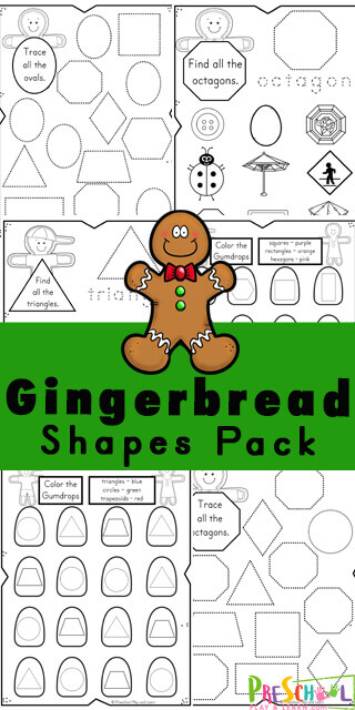 Young children will have fun learning their 2d shapes with this super cute, free printable Shape Worksheets with a fun gingerbread theme perfect for December. Children will learn 2d shapes with these Gingerbread Man Worksheets. These Christmas worksheets are loaded with fun activities for toddler, preschool, pre-k, kindergarten, and first grade students.
