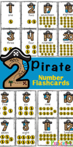 Learning to count from one to twenty is so much fun with these exciting free number flashcards printable. These number flashcards for toddlers, preschoolers, and kindergartners are a fun way to learn to count to 10 with pirate printables.