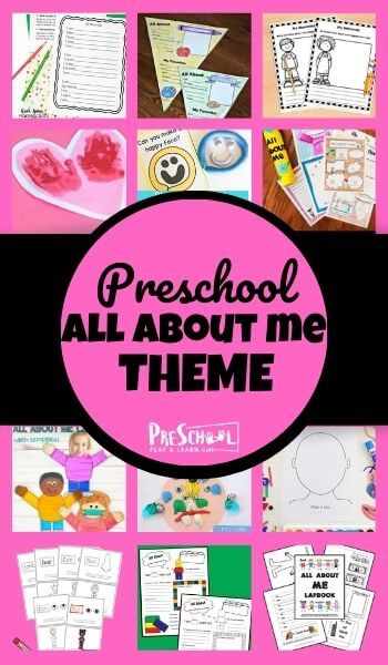 """Help your preschool """"learn all me"""" using this All About Me Preschool Theme! Your toddler, pre-k, and kindergarten child will love these engaging all about me activities, all about me printables, and all about me crafts. This all about me preschool lesson is perfect for a week long study any time of the year!"""