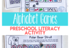 "Beginning sounds worksheets can be so dull for our preschool kiddos, but they don't have to be. Engage your preschool, pre-k, and kindergarten age child in a fun winter printables that is an abc game where they unknowingly practice early literacy skills. Your child will love ""racing"" you to the end as you try to get your polar bear back to his den in this alphabet games. This is a great game to add to your list of winter activities for preschoolers. Simply download pdf file with alphabet games for kids and you are ready to practice letter recognition and phonemic awareness with young kids."