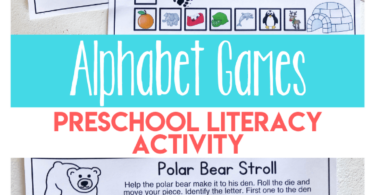 """Beginning sounds worksheets can be so dull for our preschool kiddos, but they don't have to be. Engage your preschool, pre-k, and kindergarten age child in a fun winter printables that is anabc game where they unknowingly practice early literacy skills. Your child will love """"racing"""" you to the end as you try to get your polar bear back to his den in this alphabet games. This is a great game to add to your list of winter activities for preschoolers. Simply download pdf file withalphabet games for kids and you are ready to practice letter recognition and phonemic awareness with young kids."""