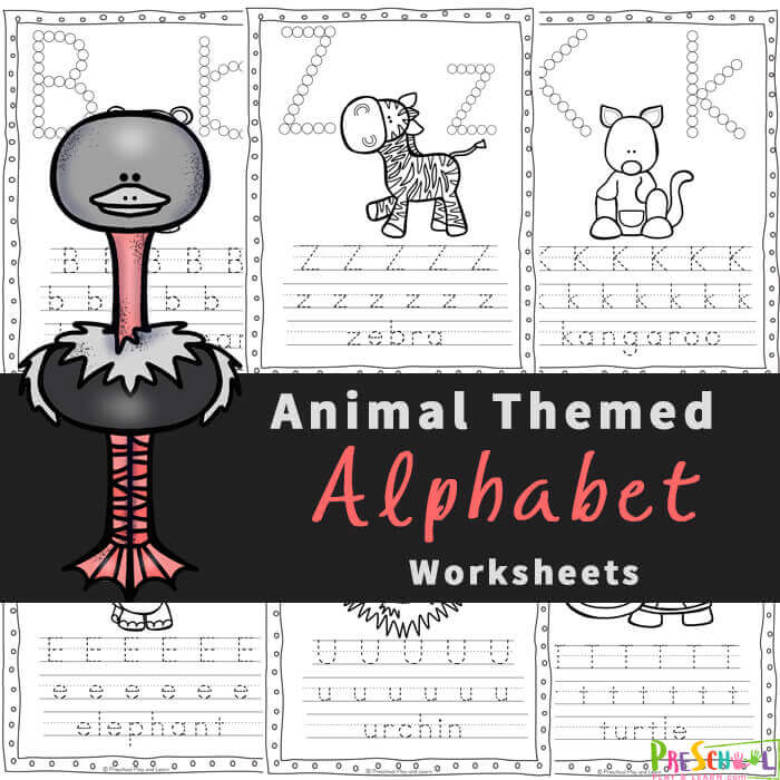 FREE Animal Alphabet Worksheets For Preschoolers