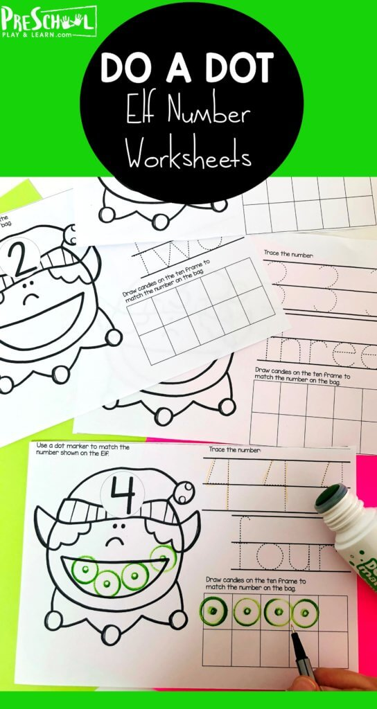 Looking for a fun way to get kids to count and show their numbers? These fun Christmas worksheets for preschool are perfect for helping toddler, preschool, pre-k, and kindergarten age children work on counting to 10 using at ten frame. These Christmas Elf themed printables are perfect to use with do a dot markers, holiday stickers, circle stickers, or mini erasers. Download pdf file with Christmas counting and have fun learning during December!