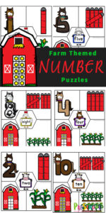Young children will have fun learning to count to 10 with these super cute Farm free printable puzzles. This math activity is fun for preschool, pre-k, and kindergarten age students working on their fine motor skills and counting 1-10 skills as well as being a number sense activities for preschoolers. Download pdf file with printable number puzzles and you are ready for some fun farm themed math for your math center.