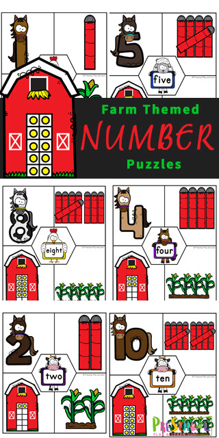 Young children will have fun learning to count to 10 with these super cute Farm free printable puzzles. This math activity is fun for preschool, pre-k, and kindergarten age students working on their fine motor skills and counting 1-10 skills as well as being a number sense activities for preschoolers. Print pdf file with printable number puzzles and you are ready for some fun farm themed math for your math center.