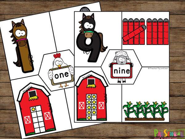 Number puzzles printable farm printables