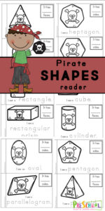 Make your own pirate printables 2D and 3D Shape Reader to help toddler, preschool, pre-k, kindergarten, and first graders learn about shapes. This shape printable is a great way to work on reading skills while learning about shapes for kids including circle, cone, crescent, cube cylinder, decagon, heart, heptagon, hexagon, nonagon, octagon, oval, parallelogram, pentagon, pyramid, rectangle, rectangular prism, rhombus, sphere, square, star, trapezoid, triangle, triangular prism. In this pirate worksheet you will color the shape, trace the shape name, and write down how many sides your shape has.