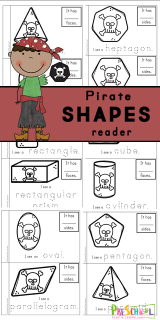 Make your own pirate printables2D and 3D Shape Reader to help toddler, preschool, pre-k, kindergarten, and first graders learn about shapes. This shape printable is a great way to work on reading skills while learning about shapes for kids including circle, cone, crescent, cube cylinder, decagon, heart, heptagon, hexagon, nonagon, octagon, oval, parallelogram, pentagon, pyramid, rectangle, rectangular prism, rhombus, sphere, square, star, trapezoid, triangle, triangular prism. In thispirate worksheetyou will color the shape, trace the shape name, and write down how many sides your shape has.