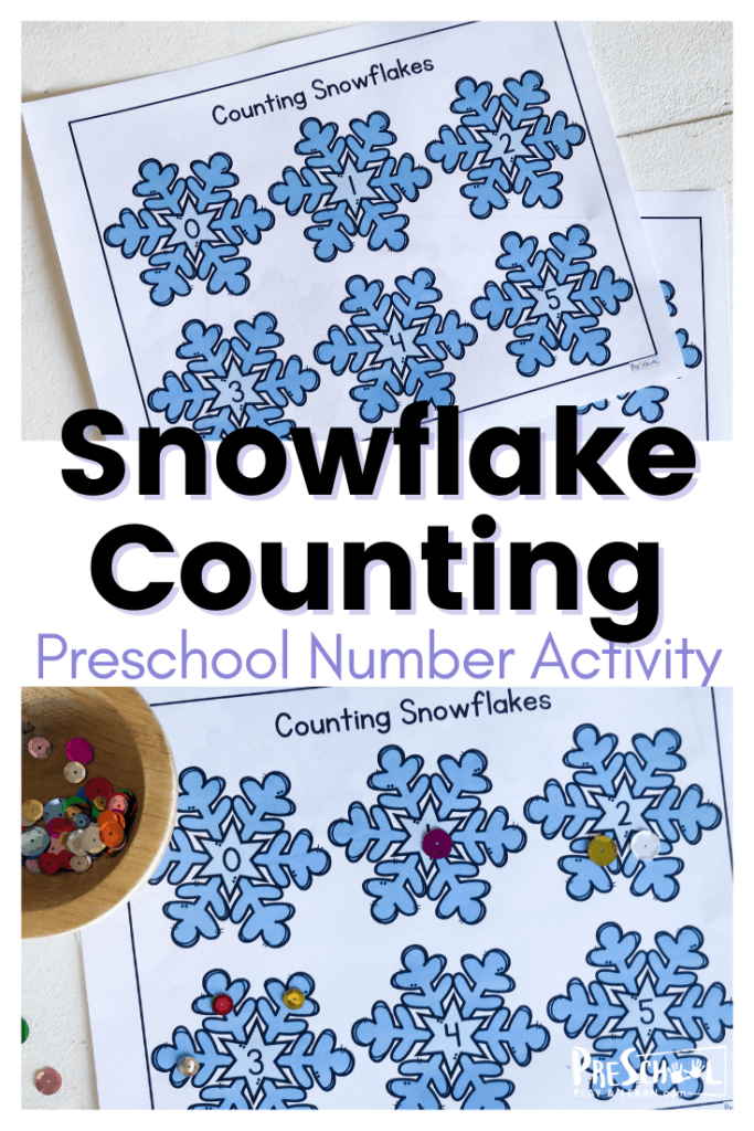 Grab these snowflake printables for a really fun Winter Math Activities for Preschoolers. Toddler, preschool, and pre-k children will practice counting snowflakes with these free printable PreK math worksheets. This is such a fun winter math project for helping young learners practice counting to 10. Simply download winter printables and great ready for hands-on math as they count 1-10.