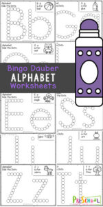 Kids will have fun practicing making the uppercase and lowercase alphabet letters with these super cute do a dot printables. Not only are bingo dauber markers fun to use, but they are great for strengthening hand muscles, working on 1:1 correspondence, and with these alphabet worksheets - they are great for learning your abcs. These abc printables are great for teaching toddler, preschool, pre-k, and kindergarten age students their lettesr a to z. Simply download pdf file with do a dot worksheets, grab your bingo markers,  and you are ready to play and learn.