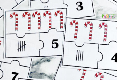 Number sense is an important skill for children to learn. This is the foundation for math in their future. This doesn't have to be overwhelming or boring, though! Kids can have fun learning and practicing skills with activities like this Candy Cane Number Sense Puzzles. This funChristmas mathactivity for december is a great way to to help toddler, preschool, and pre-k children as they learn to count and identifying numbers 1-10.