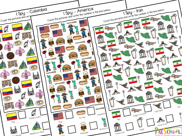 learn about 36 different coutnries for kids with these free around the world i spy workseets. these i spy games are perfect for toddler, preschool, pre-k, kindergarten, and first grade students.