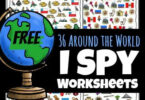 Help kids start to learn about countries around the world with these super cute, free printable I spy worksheets. There are over 36 i spy printables for toddler, preschool, pre-k, kindergarten, first grade, and 2nd grade students to complete. Using these I Spy Printable Worksheets children will love learning about countries for kids and their famous landmarks and icons about while working on their counting skills. Simply download pdf file with i spy free printables and you are ready to play and learn!