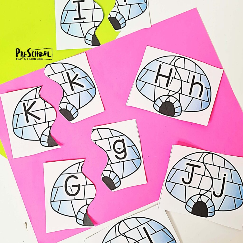 Brrr. Winter is here and January is cold! But the snow and winter makes for fun winter themes in preschool! These super cute, free printable alphabet puzzles have a fun igloo theme for kids to work on matching upper and lowercase letters this chilly season. Preschool kids will love these winter themed alphabet puzzles! Looking for a fun way to reinforce and practice alphabet lower and uppercase matching skills? These puzzle cards will have kids identifying the letters and finding their identical match. The puzzles are very simple to print and prepare, perfect for independent practice and morning tubs.