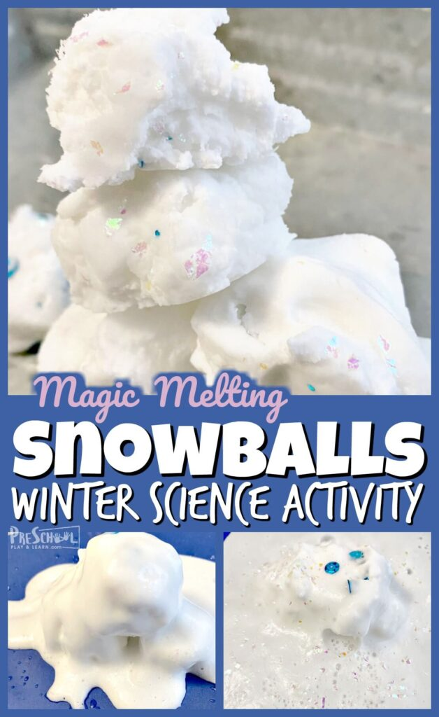 Sneak in some winter fun with this fun, educational melting snowballs this December or January. This winter science experiment helps toddler, preschool, pre-k, kindergarten and first grade students learn and explore snow with a baking soda and vinegar experiment that is sure to leave a lasting impression. THis winter activities for preschoolers is sure to be a huge hit with your children!
