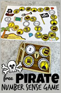 Is your preschool, pre-k, or kindergarten age childen learning number sense? If so this super cute Pirate themed number sense activities is the perfect way to help learn number sense for kids while having fun. For this pirate printable children will move around the number sense games board to plunder gold coins to fill up their treasure chests - all the while working on a number sense activity! Simply download pdf file with number activities for preschoolers and you are ready to learn!