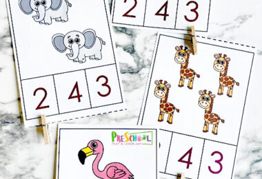 It's Time To Go To The Zoo?? My kids LOVE the zoo! They love animals in general. Animals are so much fun to learn about and they also make a fantastic theme for learning other important skills. These Zoo Animal Clip Cards for 1-10 are to help kids learn counting, number recognition and 1:1 correspondence.