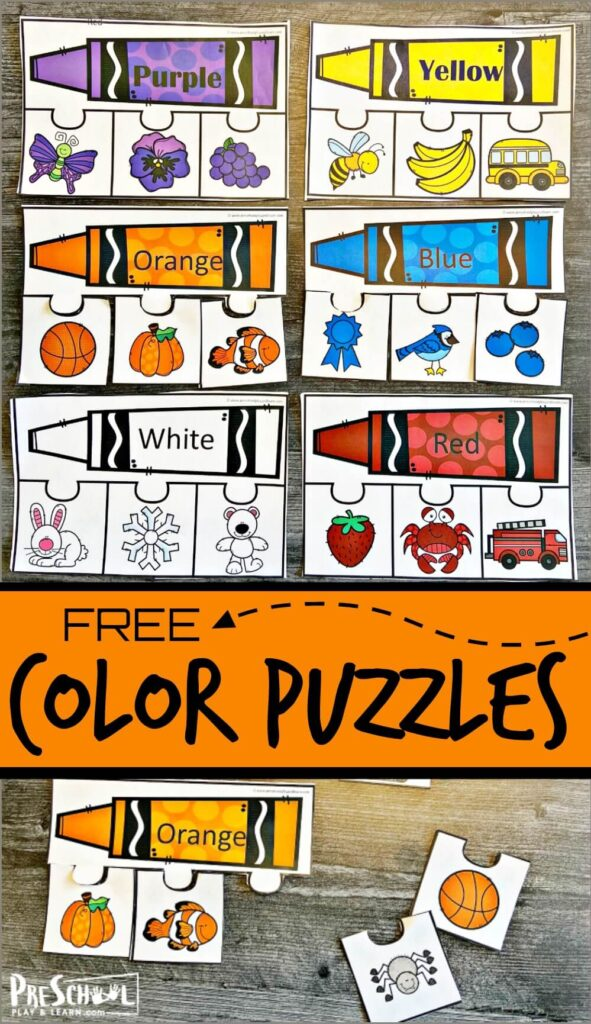 Help toddler, preschool, pre-k, and kindergarten age children work on color recognition with thiscolor activity for preschoolers. This colors printable is such a fun way for kids to learn basic colors and color names too. These printable color puzzles are apreschool color activities free. Simply download pdf file with learning colors printables, print, and put together the puzzles to learnpreschool colors of red, yellow, orange, pink, white, brown, black, green, and purple.