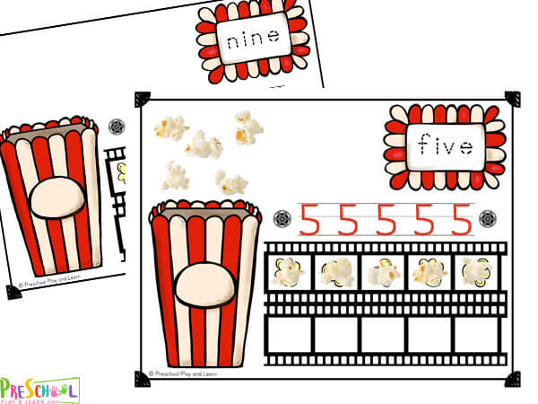 free popcorn printable playdough mats