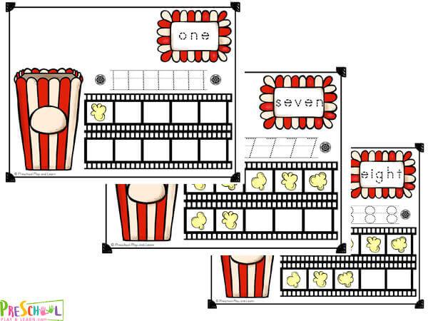 popcorn number playdough pats