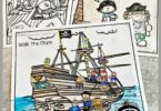 Do you have a little pirate fan in your crew? These super cute, pirate coloring pages will be a hit with your buchaneer as they get to color scenes from an exciting pirate life! These pirate pictures to colour are perfect for toddler, preschool, pre-k, kindergarte, first grade, and 2nd graders. THere are several pages of pirate coloring from pirate digging up treasure on an island to pirate life on a wooden pirate ship, and sailing as pirates of the caribean!  Simply download pdf file with pirate coloring sheets and you are ready to strengthen hand muscles and have fun with these free coloring pages!