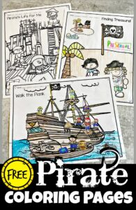 Do you have a little pirate fan in your crew? These super cute,pirate coloring pages will be a hit with your buchaneer as they get to color scenes from an exciting pirate life! Thesepirate pictures to colourare perfect for toddler, preschool, pre-k, kindergarte, first grade, and 2nd graders. THere are several pages ofpirate coloring from pirate digging up treasure on an island to pirate life on a wooden pirate ship, and sailing as pirates of the caribean! Simply download pdf file withpirate coloring sheets and you are ready to strengthen hand muscles and have fun with thesefree coloring pages!