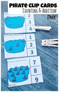 Ahoy matey! Let's sale with the pirates in the caribean with this fun pirate counting activity for kids. Help toddler, preschool, pre-k, and kindergarten age practice counting to 10 with this cute pirate themed activity. This pirate activity is sure to make preschool math fun for kids!