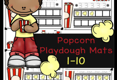 These super cute popcorn playdough mats are a fun way for toddler, preschool, pre-k, and kindergarten age children to practice counting to 10, tracing numbers, learning number words, using a ten frame, and visualizing the value of numbers. These playdough mats are such a cute math activity for preschoolers for your next popcorn theme of for National popcorn day on January 19th. Kids will have fun improving their visual perception while strengthening fine motor skills and counting skills with these number playdough mats. Simply download pdf file with free printable playdough mats and you are ready to play and learn.