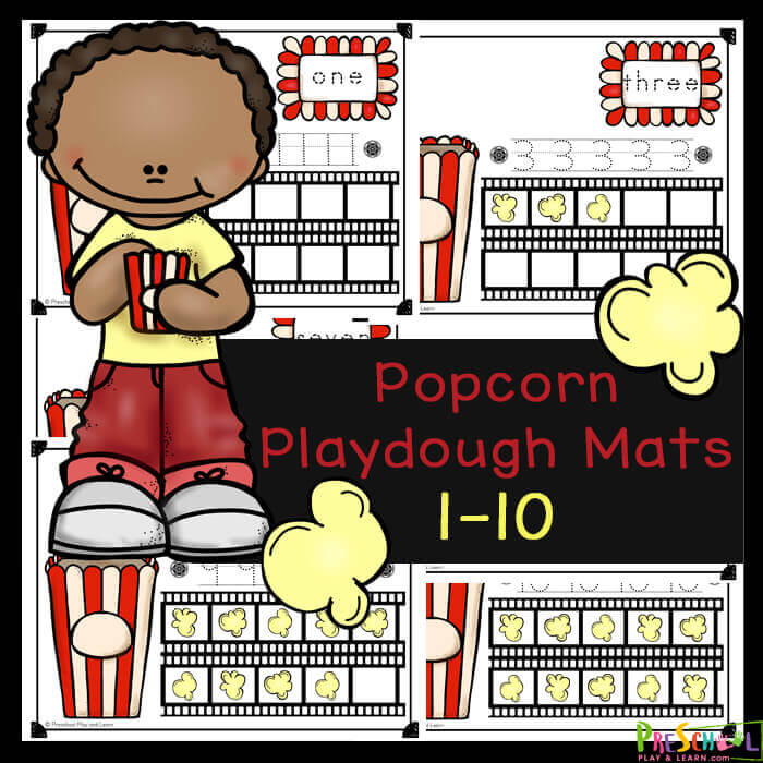 These super cute popcorn playdough mats are a fun way for toddler, preschool, pre-k, and kindergarten age children to practice counting to 10, tracing numbers, learning number words, using a ten frame, and visualizing the value of numbers. These playdough mats are such a cute math activity for preschoolers for your next popcorn theme of for National popcorn day on January 19th. Kids will have fun improving their visual perception while strengthening fine motor skills and counting skills with thesenumber playdough mats. Simply download pdf file withfree printable playdough mats and you are ready to play and learn.