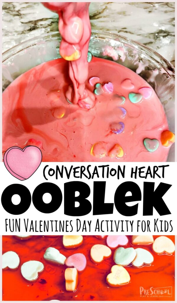 Celebrate Valentines Day in February by whipping up a batch of this realy fun Conversation Heart Ooblek! Making ooblek is quick and easy and loads of fun as this substance is hard in yoru hand and then drizzles out of your hand - WOW! This valentines day activity is perfect for toddler, preschool, pre-k, kindergarten, first grade, and 2nd grade students.  The cute heart candies in the ooblek recipe make this valentines day activities for preschoolers extra fun!