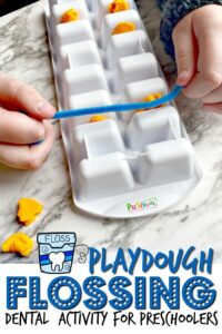 Flossing is something that some people do and some people don't. Either way, it is recommended by dentists everywhere. Teaching children not only about it but how to properly do it is important. This outrageously fun Playdough Flossing Activity will not only teach both of those aspects, but will help children understand how it works. Use an ice cube tray, playdough, and string to demonstarte to kids how to properly floss and why it's important. Use this Dental Activities for Preschoolerswith preschool, pre-k, toddler, kindergarten, and first grade students as part of adental health monththeme in February.