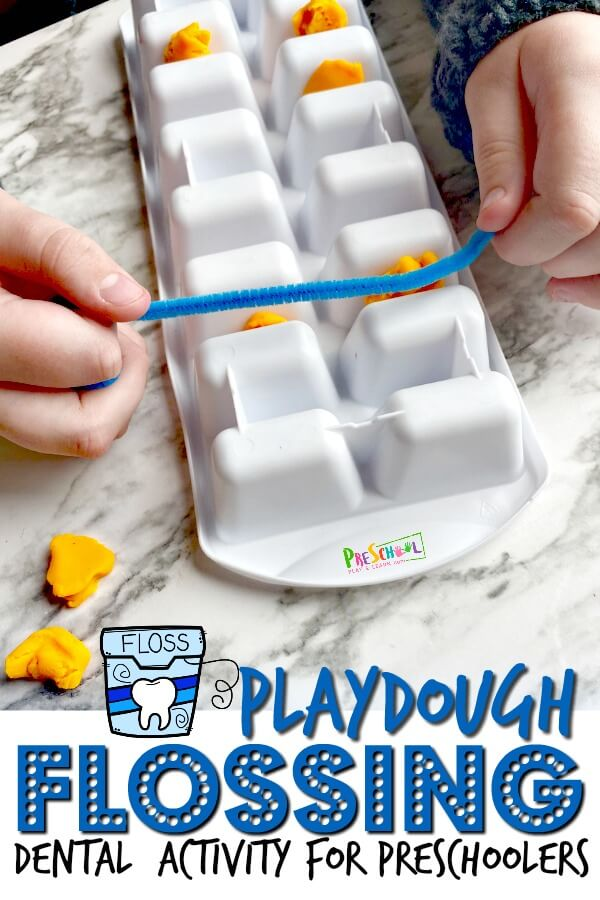 outrageously fun Playdough Flossing Activity will not only teach both of those aspects, but will help children understand how it works. Use an ice cube tray, playdough, and string to demonstarte to kids how to properly floss and why it's important. Use this Dental Activities for Preschoolerswith preschool, pre-k, toddler, kindergarten, and first grade students as part of adental health monththeme in February.