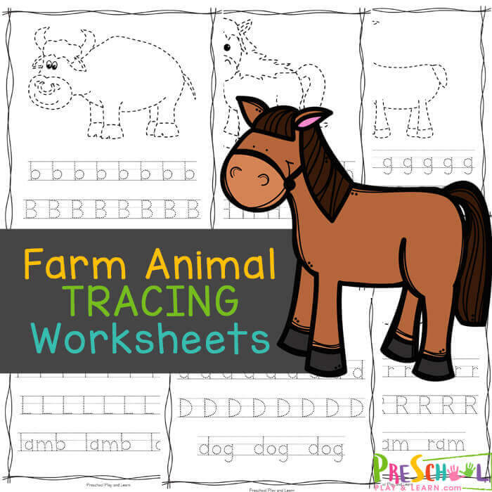 These farm animal worksheets are perfect for helping your young readers from toddler, preschool, pre-k, kindergarten, and first grade students practice letter recognition as well as handwriting practice with a fun farm theme printable activity. CHildren will trace the farm animal and then letter trace uppper and lowercase letters too. This alphabet tracing worksheets is a great way to learn your alphabet with a no-prep ABC Printables. Simply download farm animals worksheets pdf file with to add some fun to your fine motor skills practice.