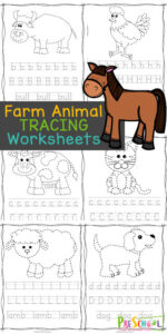 These farm animal worksheets are perfect for helping your young readers from toddler, preschool, pre-k, kindergarten, and first grade students practice letter recognition as well as handwriting practice with a fun farm theme printable activity. CHildren will trace the farm animal and then letter trace uppper and lowercase letters too. This alphabet tracing worksheets is a great way to learn your alphabet with a no-prep ABC Printables. Simply farm farm animals worksheets pdf file with to add some fun to your fine motor skills practice.