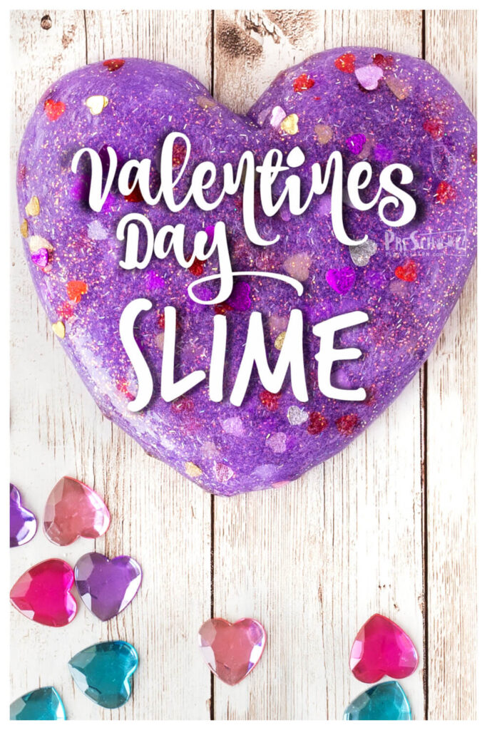 Get ready for some serious fun when you whip up a batch of thsi Glittery, PurpleValentine Slime. ThisValentines Day Slimerecipe usese contact solution and baking soda for a quick, easy, and perfect-every-timeslime recipe for kids. We love whipping up a batch of thisvalentines slime for a kid favoritevalentine's day preschool activities for toddler, preschool, pre-k, kindergarten, first grade, and 2nd graders.