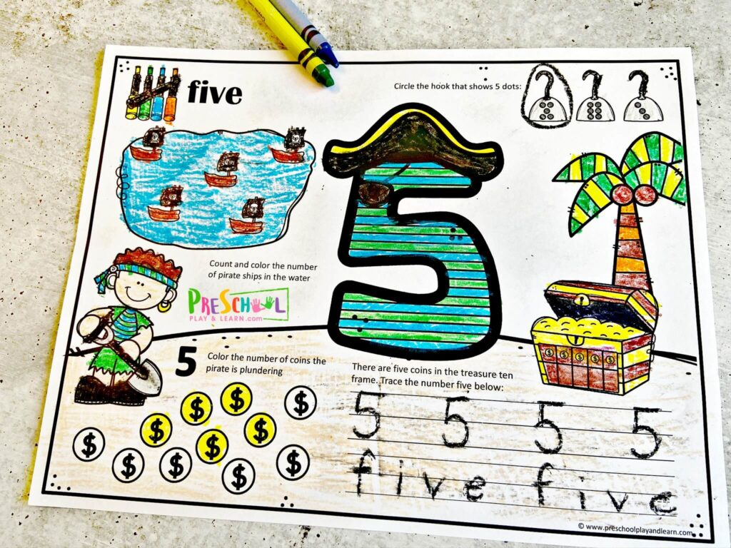 free pirate Number Tracing Worksheets for counting to 10 and numbers 1-10 with preschoolers and kindergartners