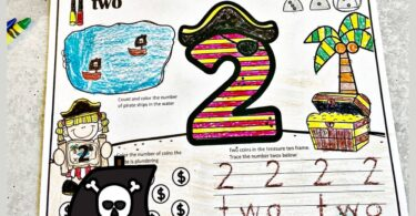 Make practicing counting, tracing numbers 1-10, and learning number words fun with these super cute, Pirate number worksheets for preschoolers. These pirate worksheets allow toddler, preschool, pre-k, and kindergarten age students to learn their numbers, number sense, and practice counting to 10 while having fun. These free printable pre k worksheets are so cute kids are going to be excited to learn! Simply download pdf file with number tracing worksheets and you are ready to start playing and learning with this cute, free printable pirate themes printables.